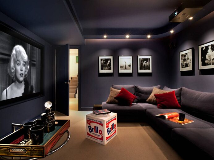 Dark-gray-walls-and-couch-in-matching-hues-create-a-lovely-contemporary-home-theater home Fun Media Room Ideas