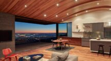 Contemporary conversion of an fire-storm house into a modern home with a curved wood ceiling Ceiling Cozy Wood Ceiling Ideas