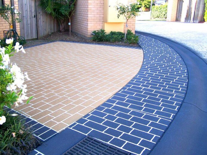 Entryway Design Ideas with blue and brown concrete paving with beautiful white lines Garden Innovative Driveway Ideas