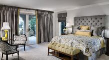Tufted-headboard-and-silken-drapes-give-the-room-an-air-of-luxury bedroom Modern Grey Bedroom Ideas