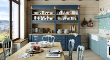 Farmhouse-style-dining-space-and-kitchen-with-a-fabulous-hutch-in-blue Dining Room Dining Room Hutch Decor