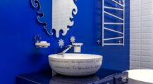 Modern-eclectic-bathroom-of-Moscow-apartment-for-those-who-adore-radiant-bright-blue Bathroom Cool Blue Bathroom Ideas