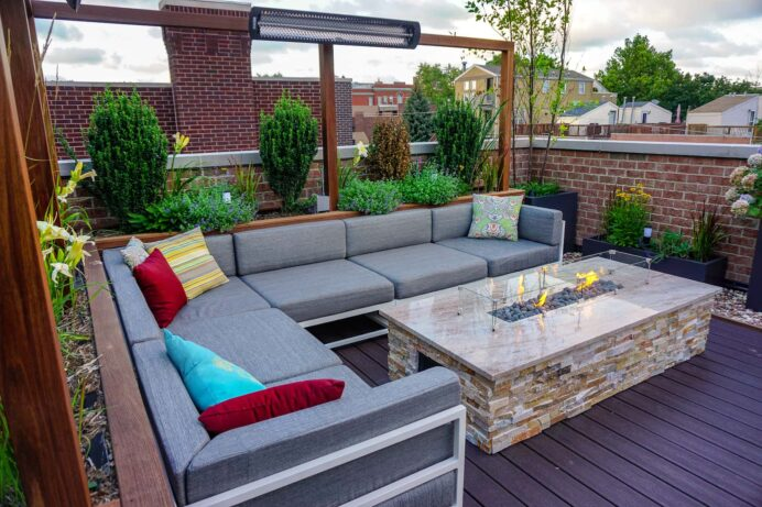 Rooftop Deck With Buffet and TV Deck Fantastic Deck Roof Ideas