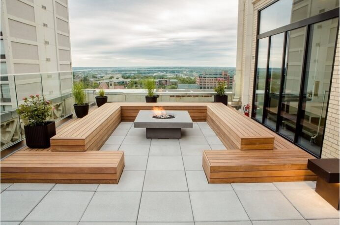 Rooftop-Deck-with-a-Fire-Pit Deck Fantastic Deck Roof Ideas