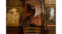 Winding Staircase Printed Backdrop Staircase Staircase Design Ideas