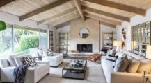 contemporary-living-room-with-vaulted-ceiling-stone-fireplace Ceiling Cozy Wood Ceiling Ideas
