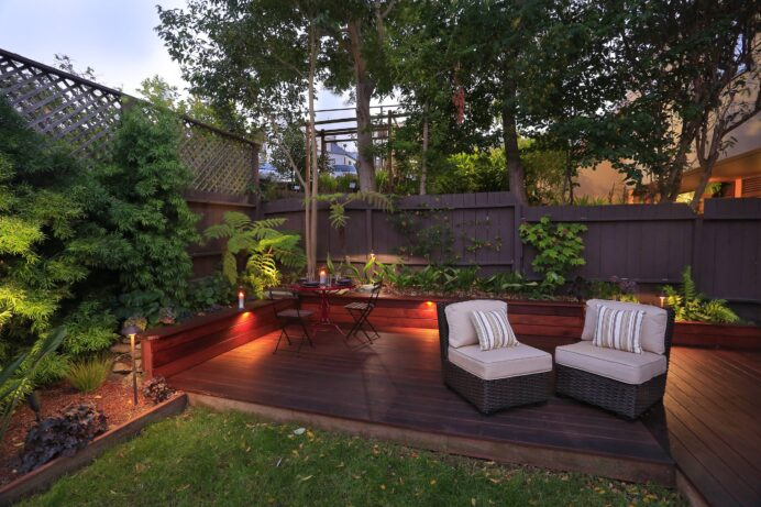 exterior-design-fortable-platform-deck-with-bench-sitting-and_outdoor-patio-and-backyard Deck Creative Deck Lighting Ideas