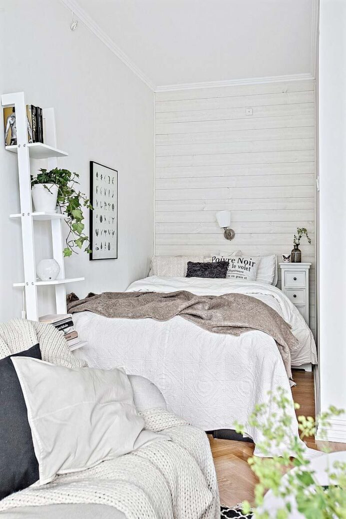 wonderful-small-bedroom-of-ing-white-shelves-and-green-plants bedroom Clean White Bedroom Ideas