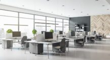 eco-style-interior-design-modern-open-space-office-grey-tables-chairs-wooden-decor-wall-concrete-floor-d-rendering Home Office When Using an Office Interior Designer There Are 7 Things To Consider.