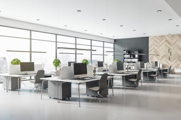 eco-style-interior-design-modern-open-space-office-grey-tables-chairs-wooden-decor-wall-concrete-floor-d-rendering